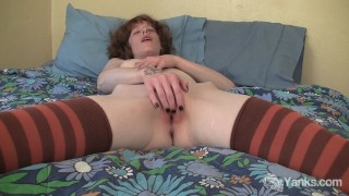 Pierced and tattooed Staci fingering her pussy Cougar hirsute