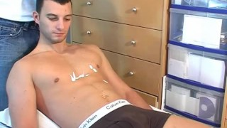 Romain, a very sexy french str8 guy get wanked his huge cock by a guy ! Ass fucking