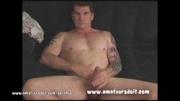 Tattooed Aussie Amateur Brad Jacks Off His Beefy Thick Cock