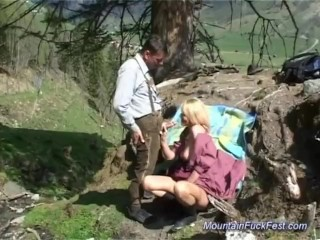 Busty german milf needs the mountains...