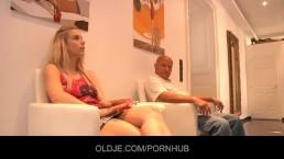 Sexy blonde teen fucks an old bald dreamer