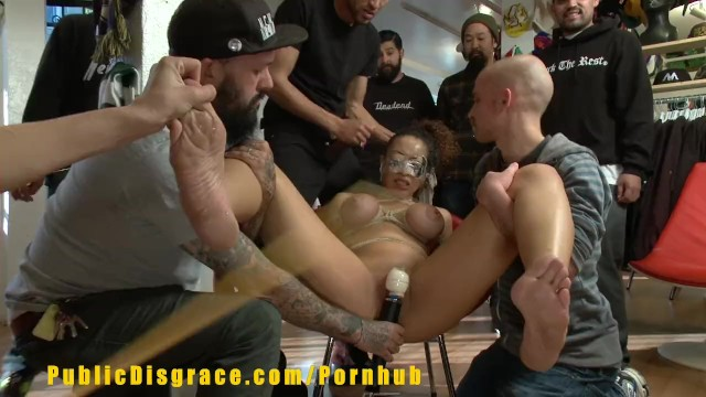 Nude women large boobs in public - Gorgeous slut with big boobs is humiliated in retail store
