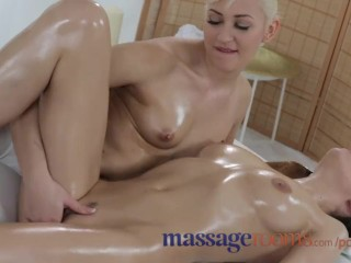 Massage Rooms Young lesbian friends share oily horny bodies in sensual sex