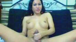 Shemale Jerking off her 10 inch Hard Cock