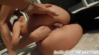 Ass Traffic babe swallows after anal Hdvpass titty