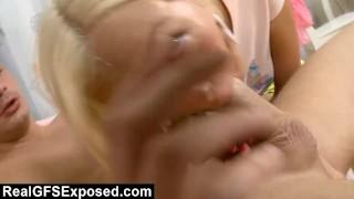 Gag Reflex Testing With Teen Blonde Sucking pussy