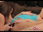 StrapOn Gina Devine and Tracy Lindsay making love with sex toy busty amateur wife