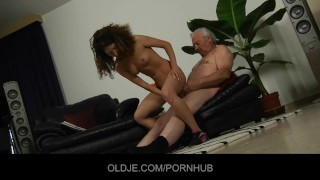 Young curly babe fucked in ass by an Oldman