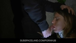 Nikky restrained with handcuff and fucked outside in darkness
