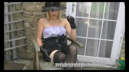 Filthy blonde Axajay smokes in her leather glove fetish