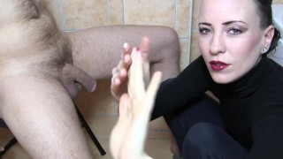 Sylvia Chrystall's artistic CFNM handjob in her bathroom.HD. Amatuer shaved