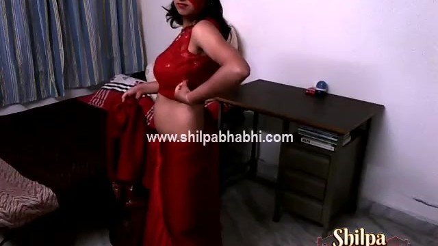Wifes strip Sexy shilpa bhabhi indian wife in red saree stripping naked sex