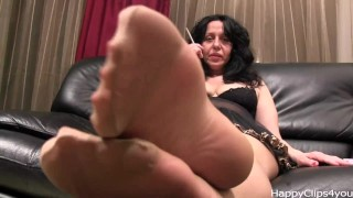 Alisa High heels dangling, stockings and smoking Rubbing nylon
