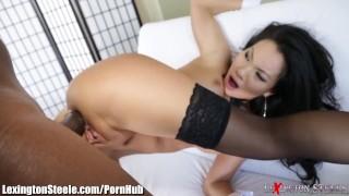 Asa Akira Fucked by 11 Inch Black Cock in Ass Creampie pov