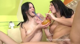 Mia and Jennifer share their hairy pussies