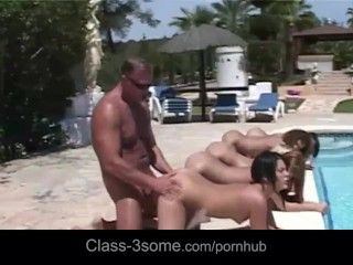 Fives hot beauties fucked in line at the pool