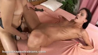 Aliz has her perfect body fucked by a friend with a huge strapon dildo Bib beauty
