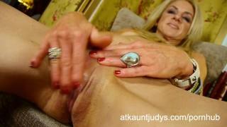 High Mileage Blonde Masturbates in Hotel Room