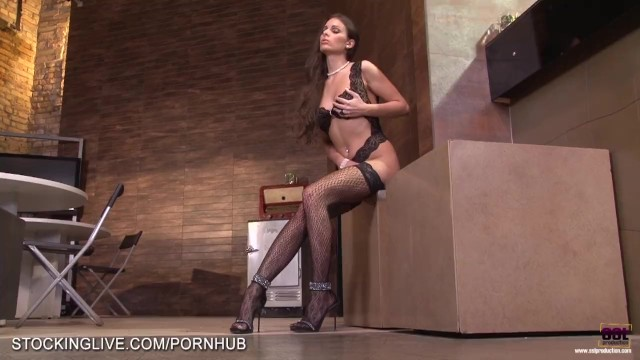 Natural girl naked beauty Beautiful natural brunette in lace stockings