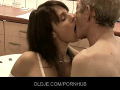 Old Man Licks And Fingers Teeny Pussy