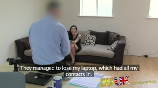 Fakeagentuk tattooed fake second brit for interview chick sexy audition of