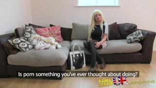 FakeAgentUK Glamour model turns cock jockey in fake casting Vixenx cumshot