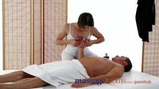 Massage Rooms Big boobs masseuse enjoys fat cock in her tight oiled hole