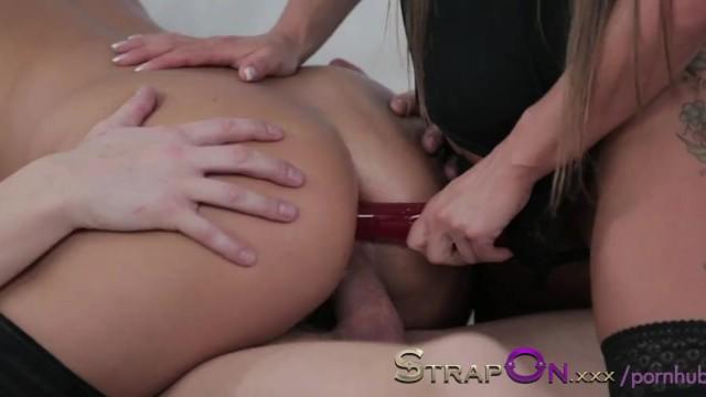 Lesbian Strapon Threesome Dp