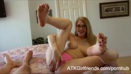 Allie James gives you an intimate POV handjob, footjob and BJ