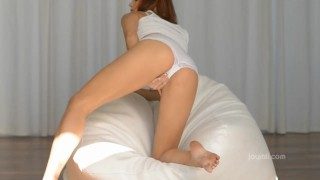 Sexy redhead pleasuring herself Shaved booty