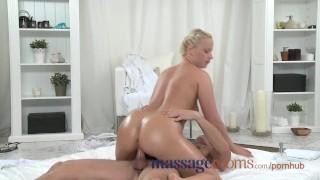 Massage Rooms Plump mature blonde milks masseuse's hard cock with her ass Small huge