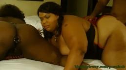 Cherri plays in Zariah June's ass with glass toy
