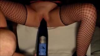 Kinky Horny Wife Fucking A Wine Bottle
