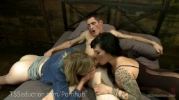 Girlfriend Hires TS Dom For A Threesome