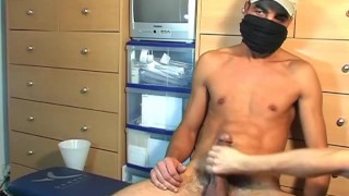 Straight Arab guy doing a porn movie! Brunette masturbation