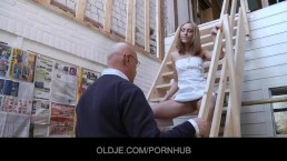 Bald older man eats Nataly's young tasty pussy
