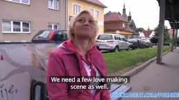 PublicAgent Short haired blonde fuckes for a part in a fake movie