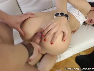 Frisky doll with dainty legs takes it up her awesome fanny