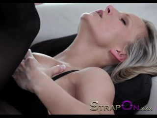 StrapOn Double penetration for a hot blonde euro babe