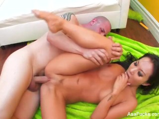 Asa Akira masturbates and gets fucked