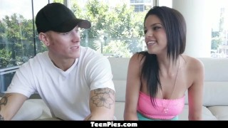 TeenPies - Busty Latina Carrie Brooks Gets A Creampie!