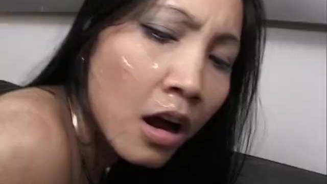 german Asian gets cum on face and ass