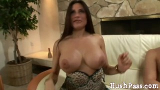 Amateur MIlf Sheila takes a huge load from a young guy! Tits raven