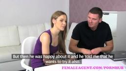 FemaleAgent. Une MILF partage le copain d'une femme sexy dans un super plan à trois