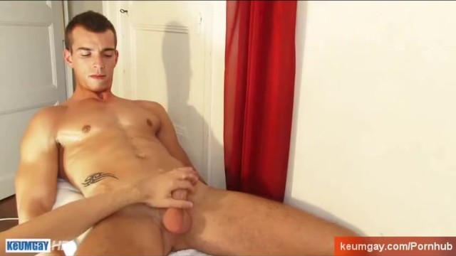 French stud gets wanked his huge cock by a guy. - 4