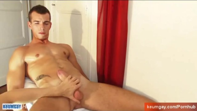 French stud gets wanked his huge cock by a guy. - 7