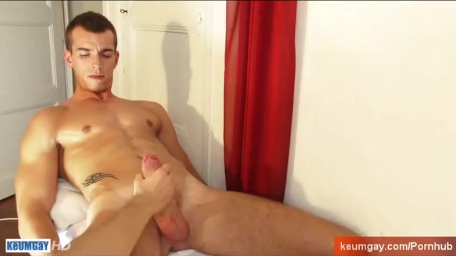 French stud gets wanked his huge cock by a guy. - 8