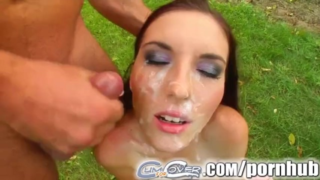 Cum For Cover Thin chick orally pleasures four guys for cum bath - 16