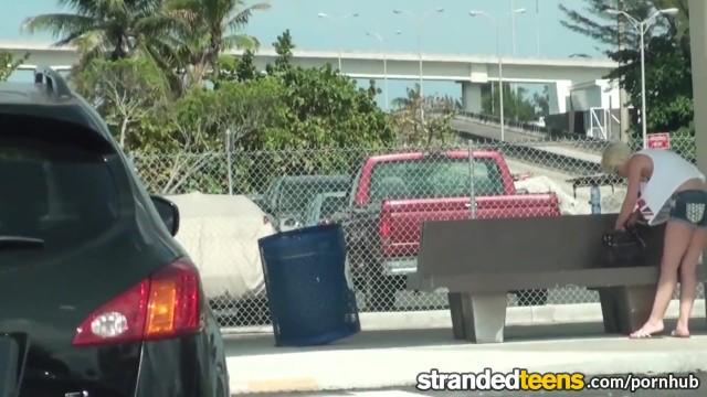 Stranded Teens - Dani Desire sucks cock in traffic - 1