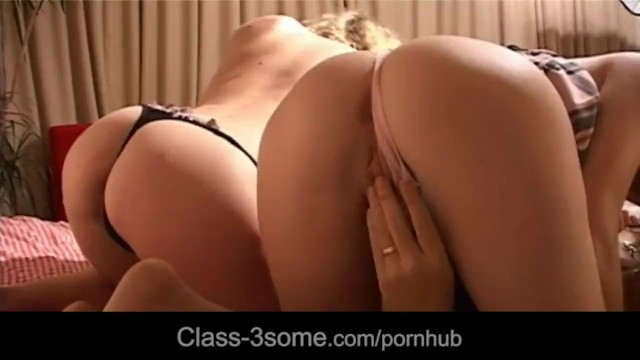 Brunette and blonde caring dick with mouth - 5